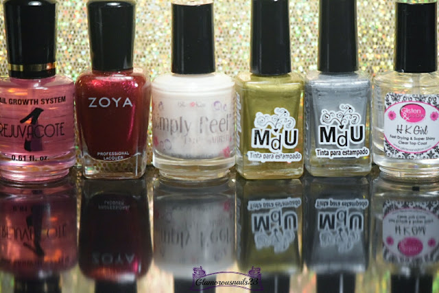 Duri Rejuvacote, Zoya Sarah, Bliss Kiss Simply Peel Latex Barrier, Mundo De Unas Gold, Mundo De Unas Silver, Glisten & Glow HK Girl Fast Drying Top Coat