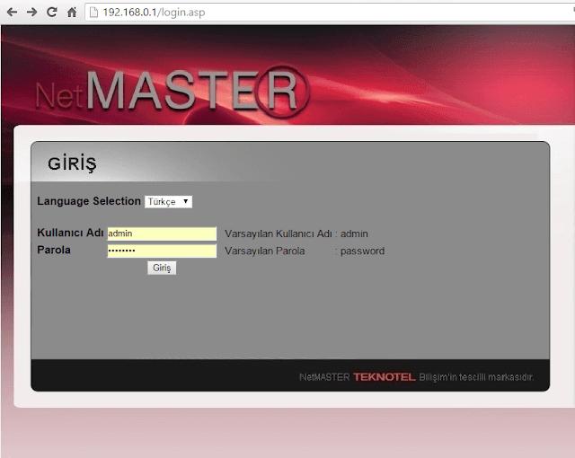 netmaster uydunet modem sifresi degistirme