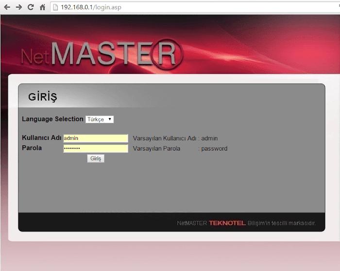 Netmaster Uydunet Modem Şifresi ve Kullanıcı Adı Değiştirme