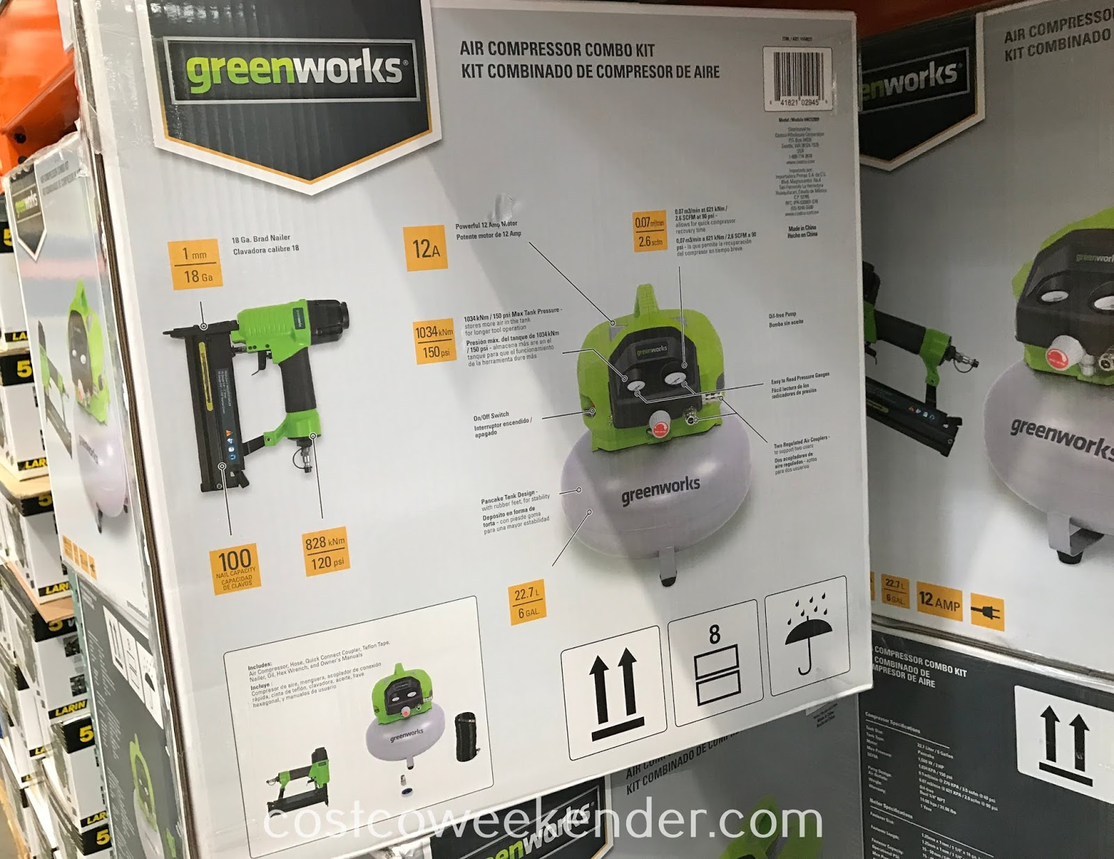 Greenworks 6-gallon Air Compressor Combo Kit features both air compressor and brad nailer