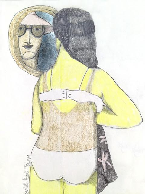 Ilustración verano, bronceado, de Raquel Feria - Summer illustration, sunbathing, by Raquel Feria
