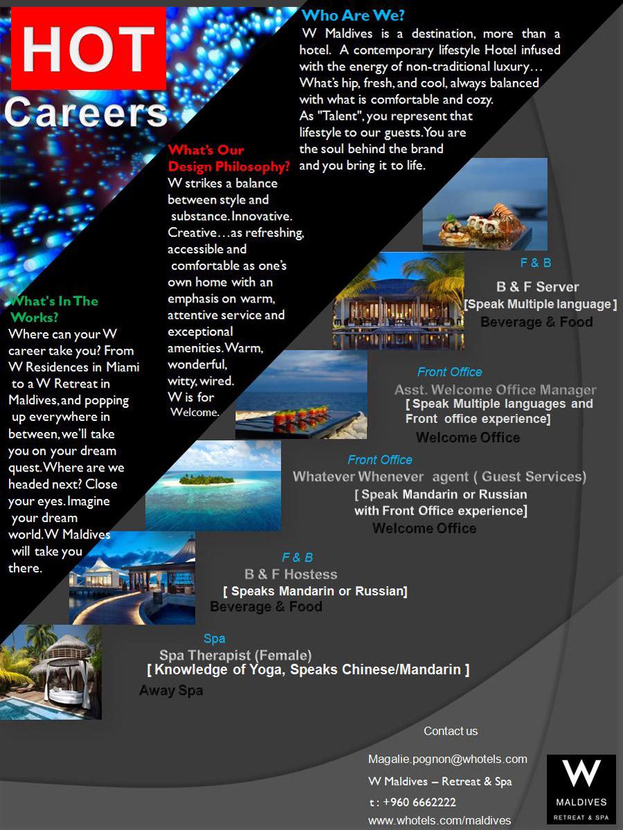 Job Maldives Front Office Supervisor jobs in Maldives