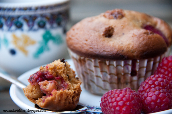 muffiny, maliny, czekolada