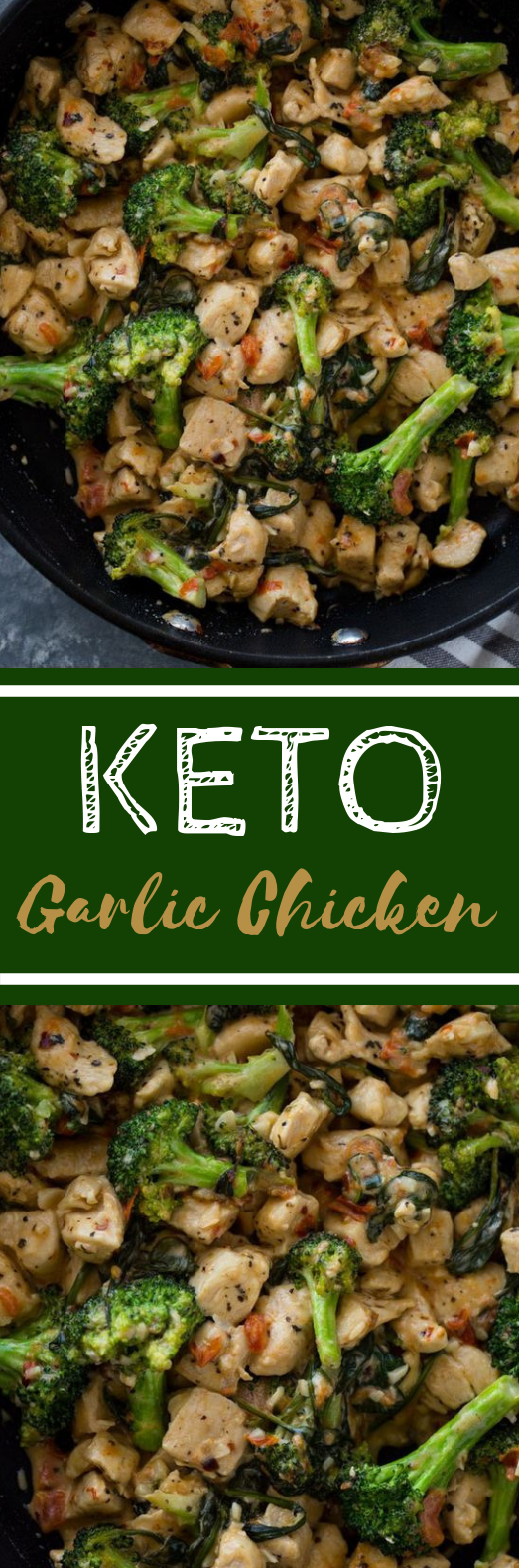15 Minute Keto Garlic Chicken with Broccoli and Spinach #healthy #paleo