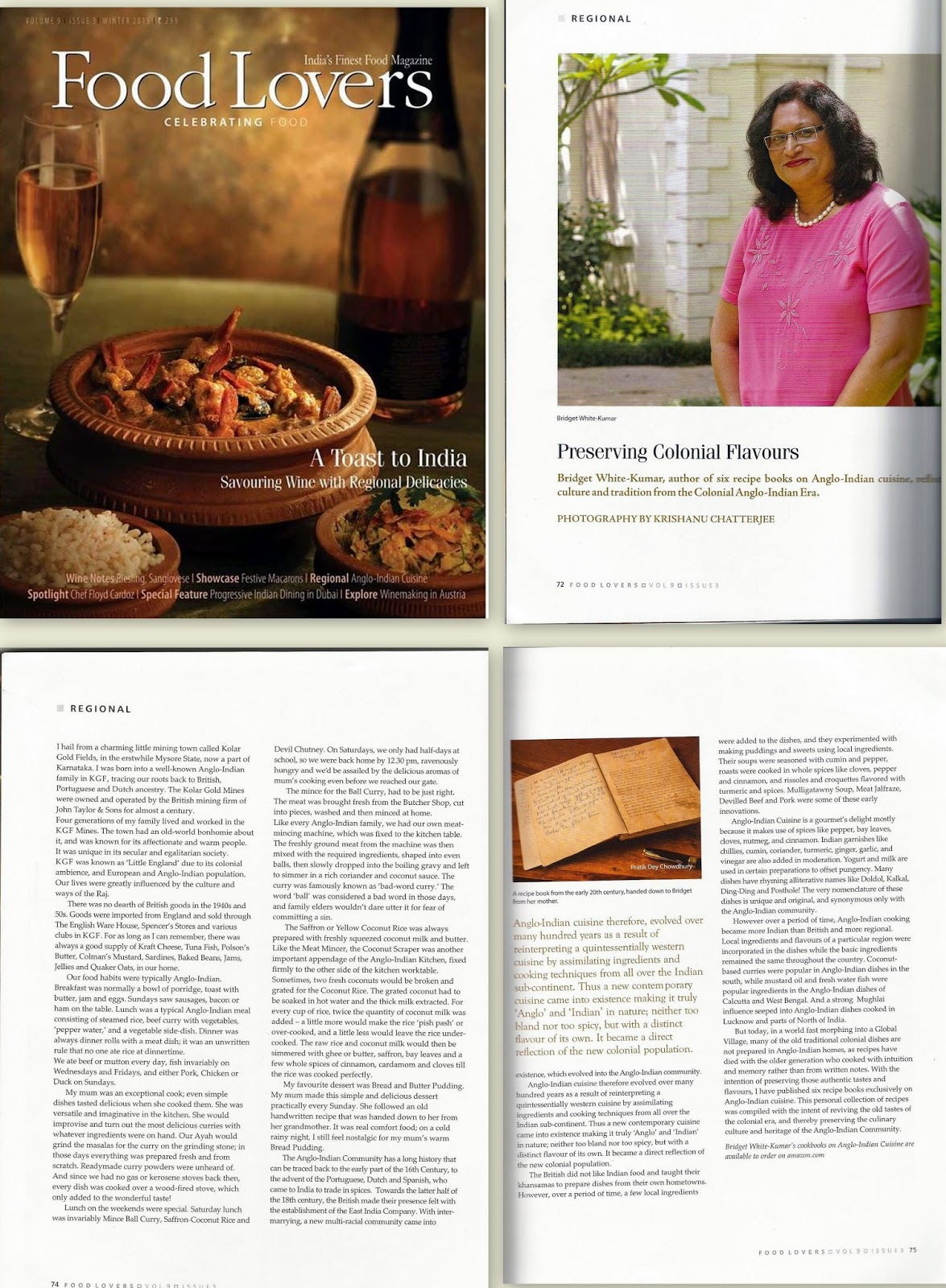 ANGLO-INDIAN RECIPES by Bridget White: BRIDGET WHITE-KUMAR FEATURED ...