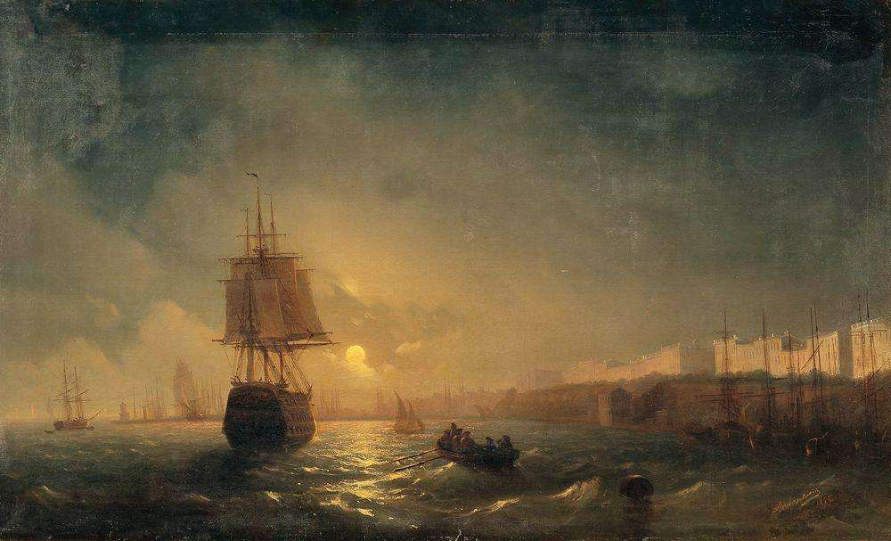 16-View-of-Odessa-Moonlight-Night-1855-Ivan-K-Aivazovsky-Иван-К-Айвазовский-Paintings-of-the-Sea-from-1840-to-1900-www-designstack-co