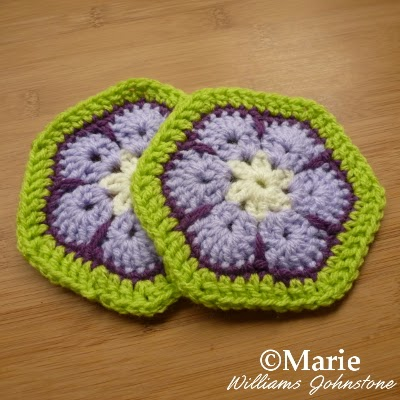 Finished hexagon granny square motifs for blankets and more