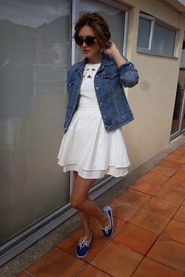 White dress and Jean jacket outfit
