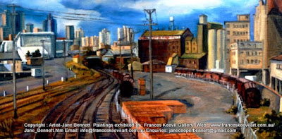 Plein air oil painting on board of the now demolished Pyrmont Goods Yardby industrial heritage artist Jane Bennett