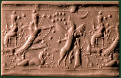 Neo-Assyrian Cylinder Seal, from c.800-750 BCE. The cluster of seven dots in the sky are the Pleiades or Sebettu.