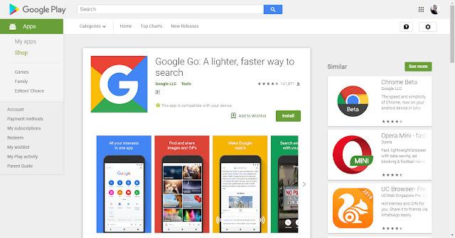تنزيل جوجل جو Google Go لايت على أندرويد للبحث