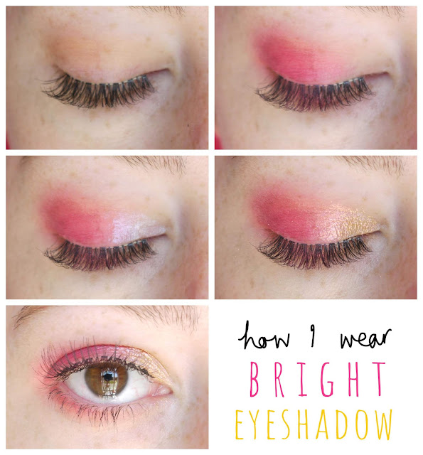 a 5 step photo guide demonstrating how I wear bright eyeshadow