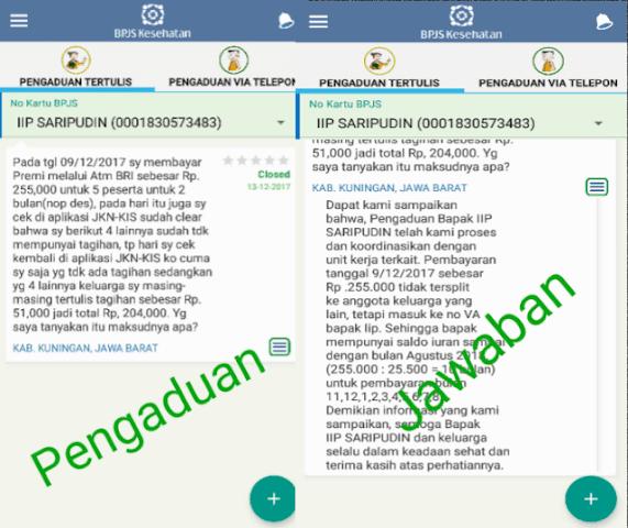 Pengaduan tertulis via aplikasi