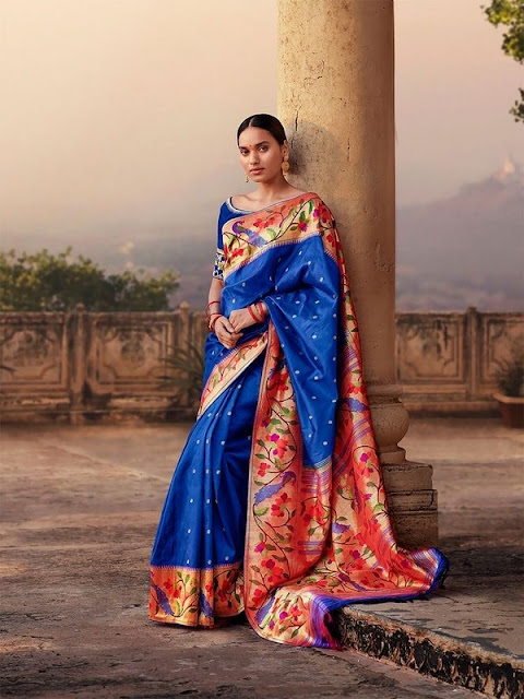 Model in Blue Pythani Silk Saree
