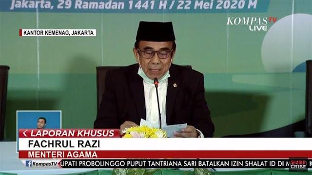 Menteri Agama, Fachrul Razi, saat membacakan hasil sidang isbat.