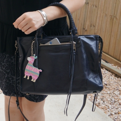Rebecca Minkoff Regan Satchel Tote in moon with llama bag charm | away from the blue