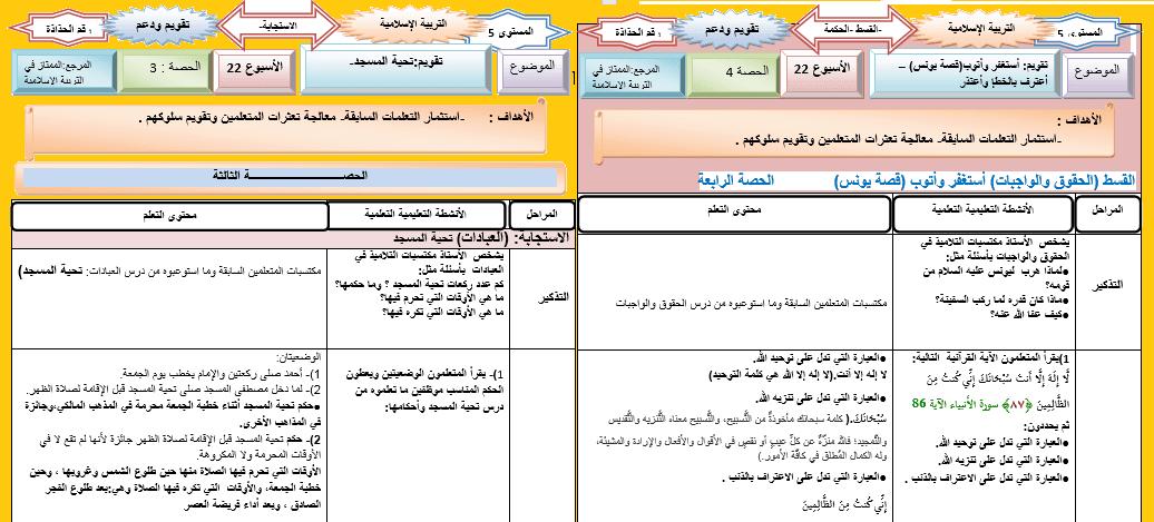 جذاذة التربية الاسلامية تقويم و دعم تحية المسجد الأسبوع 22 Word