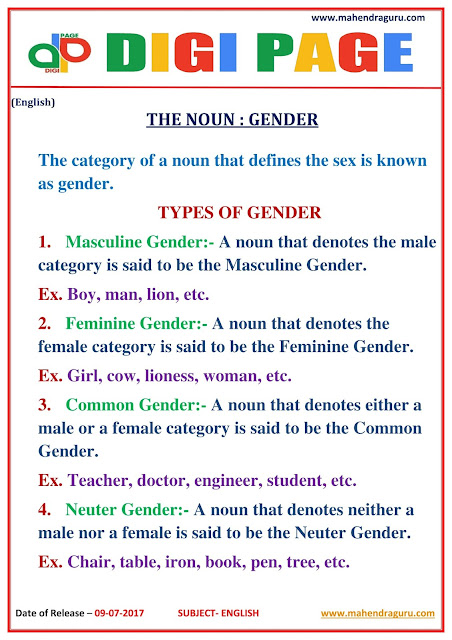 DP | NOUN AND GENDER  | 08 - JULY - 17 |
