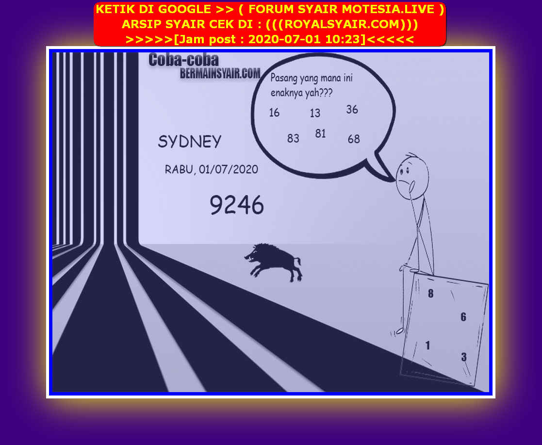 Kode syair Sydney Rabu 1 Juli 2020 97
