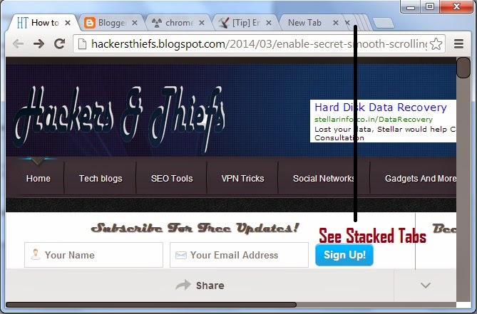 Enable Secret Stacked Tabs Features in Google Chrome