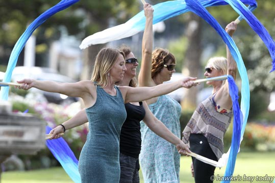 L-R: Lisa Le Fae, troupe leader, Maree Patton, Jewel Gray, Jan Hartshorn - Bellishus Performance Troupe, Hawke's Bay, rehearsing their fan veil routine in the Marine Parade Gardens, in preparation for the MEDANZ Festival in Wellington in April, in the hot sunny, partly cloudy weather. photograph