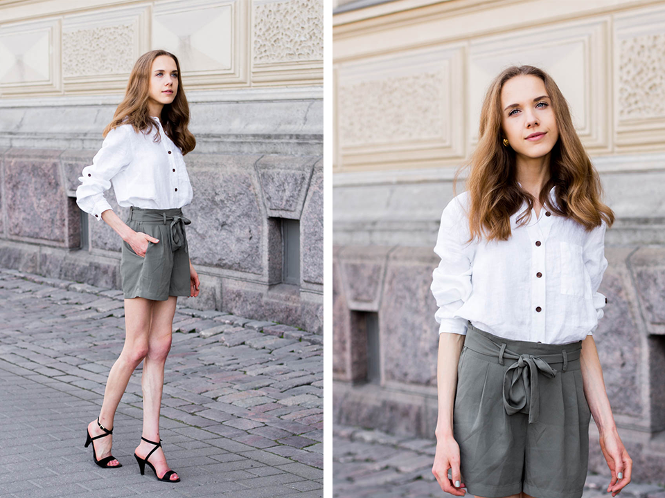 safari-chic-outfit-white-linen-shirt-green-paperbag-waist-trousers