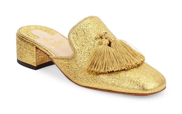 Christian Louboutin 'Barry' Metallic Leather Mules