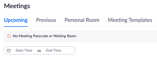 zoom no meeting passcode or waiting room