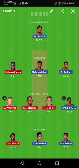 BAN vs ZIM Dream11 Team Prediction | T20 Tri-Series 2019 | Team News, Playing 11,Dream11 team