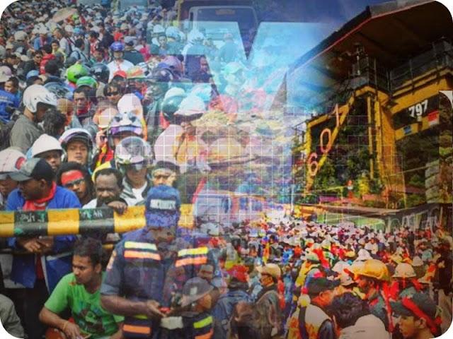 Ribuan Pekerja Gelar Mayday di Bundaran Perdamaian Timika Indah