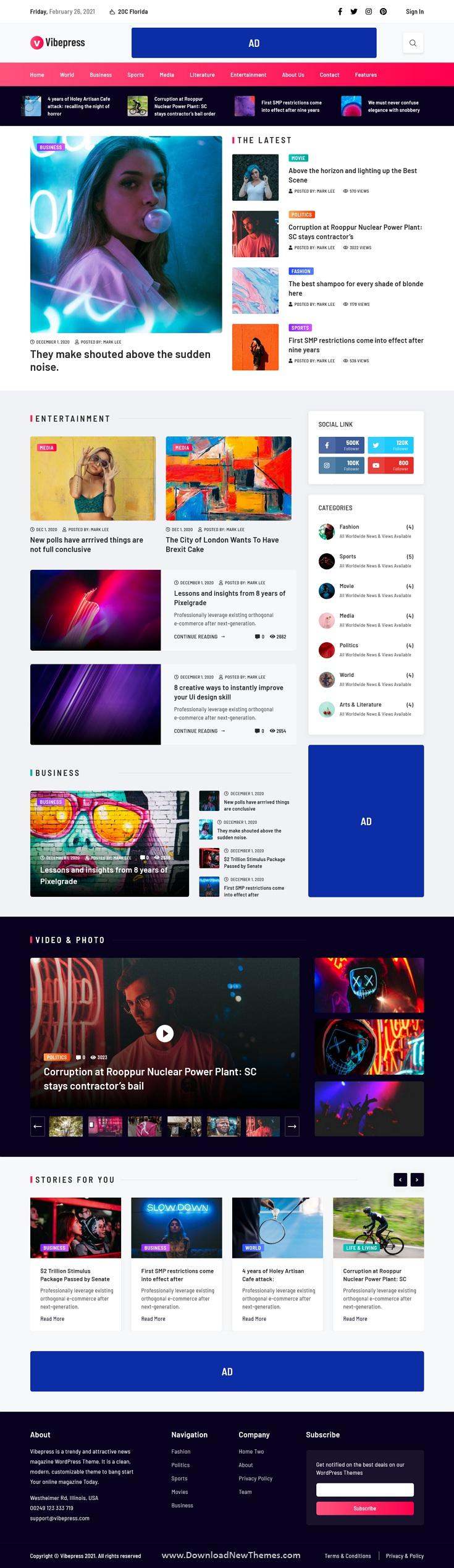 Modern Magazine WordPress Theme