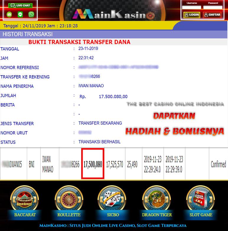 Selamat Kepada Member Setia MAIN KASINO Withdraw RP 17.500.080