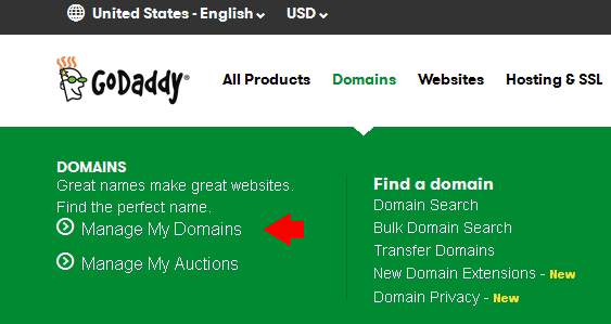 Godaddy Manage My Domains