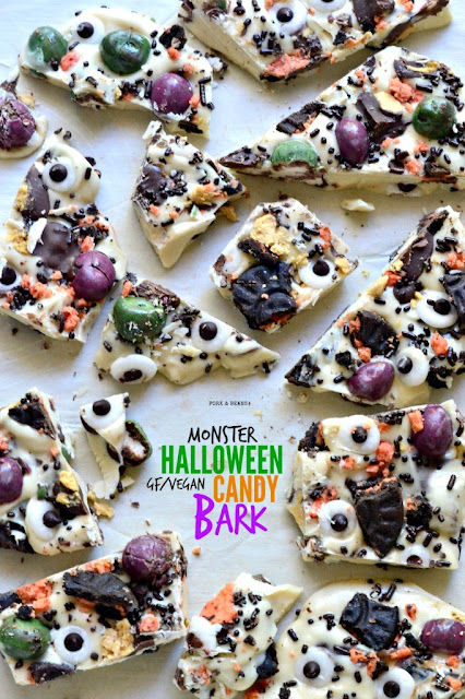 Monster Halloween Bark #healthy #halloweentreat