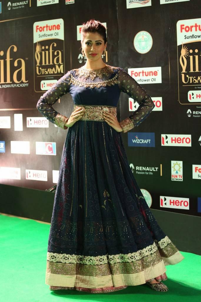 Indian Model Raai Laxmi At IIFA Awards 2017 In Blue Dress