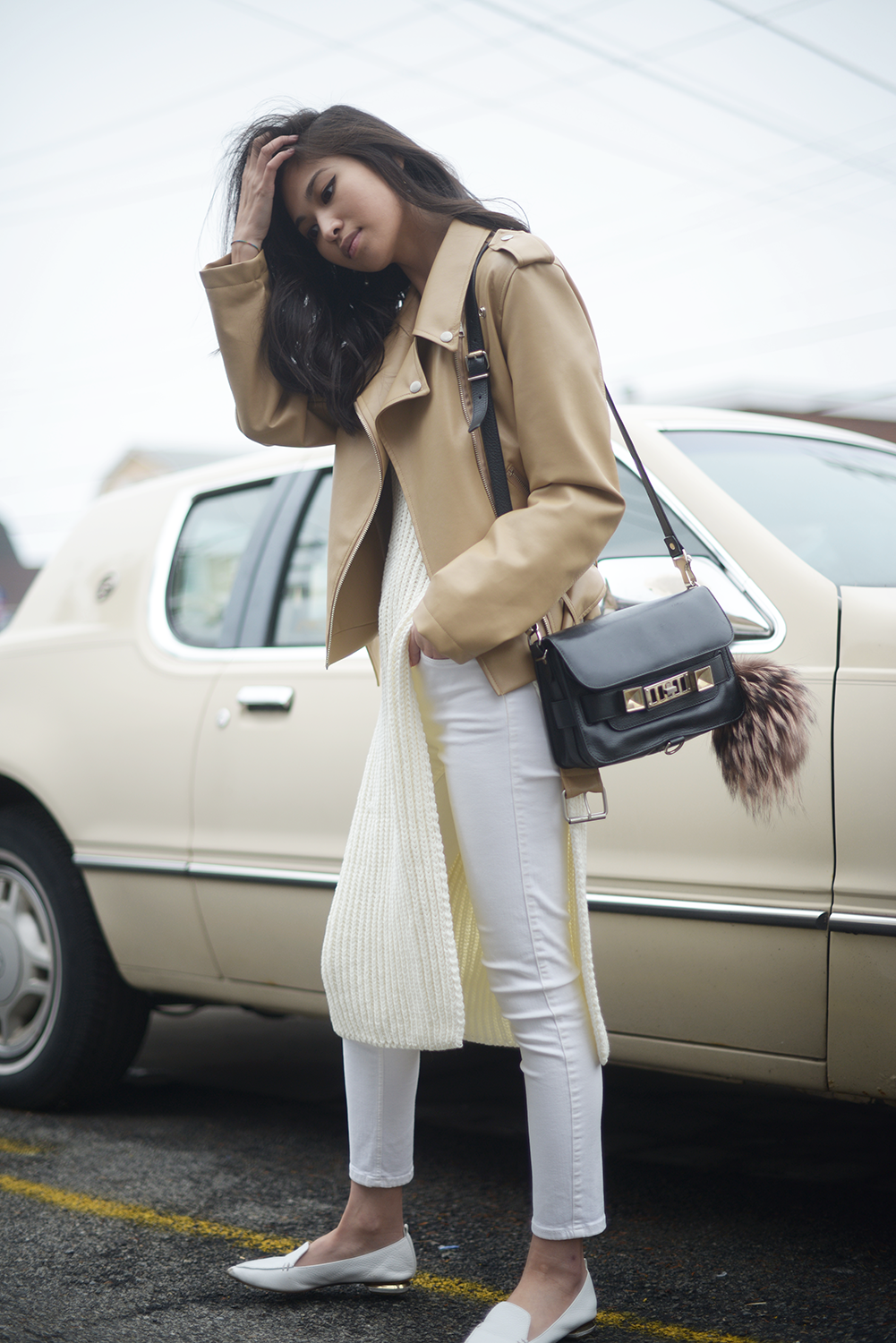Beige Leather Jacket and Knit Layers  - Catch My Drift | FOREVERVANNY.COM