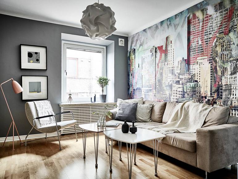 salón apartamento nórdico