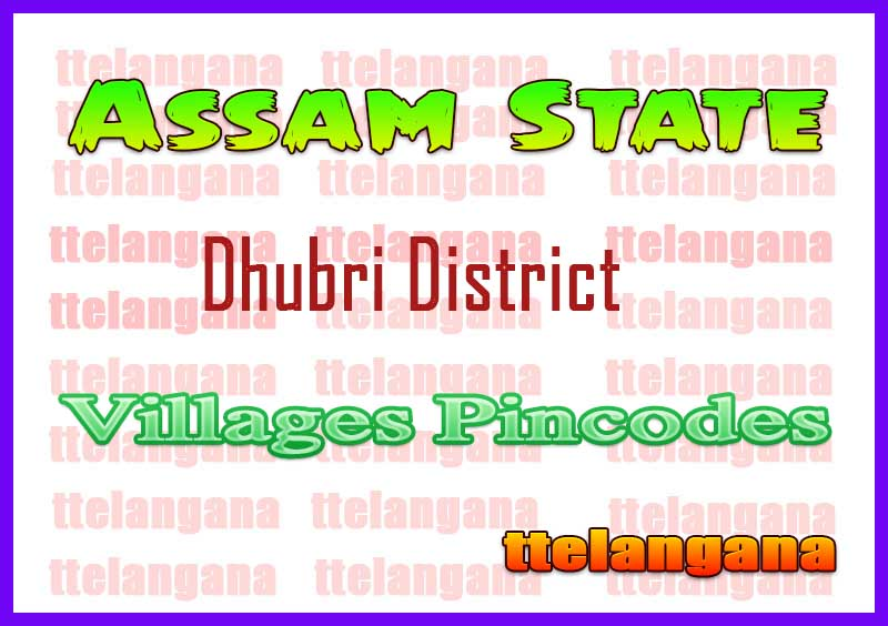 Dhubri District Pin Codes in Assam State