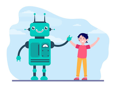 a robot and a happy boy holding hands waving