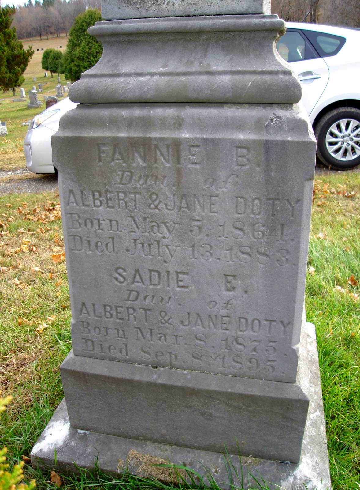 Fannie B. and Sadie E. Doty Tombstone, Wallkill Cemetery, Middletown, NY