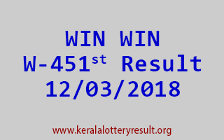 WIN WIN Lottery W 451 Results 12-03-2018