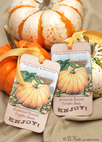 bnute productions Free Printable Vintage Pumpkin Seed Tags and