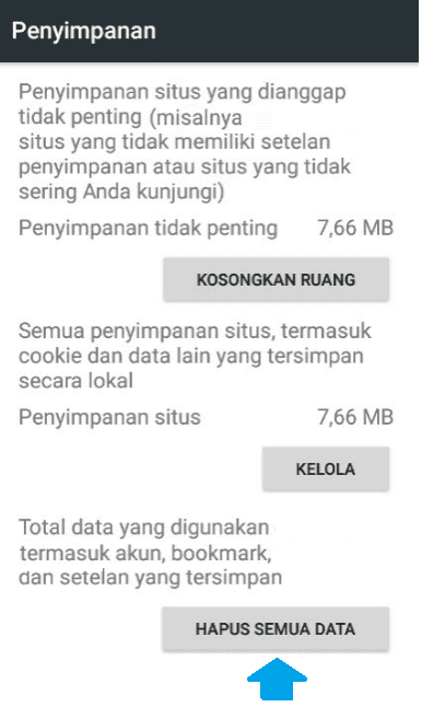 Clear data browser