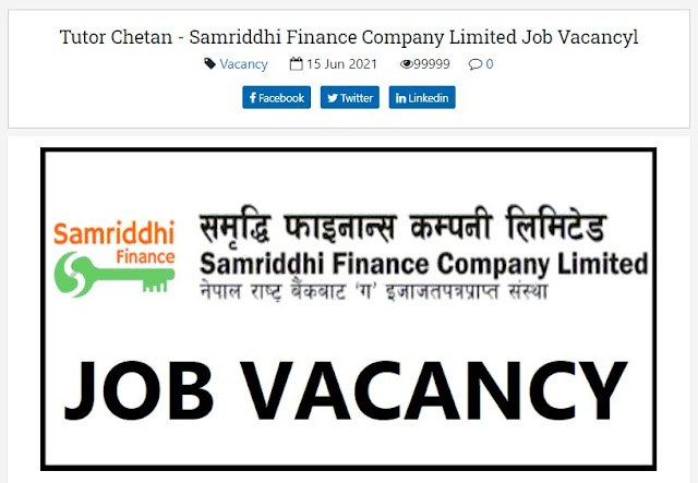 Samriddhi Finance Company Limited Vacancy Announcement