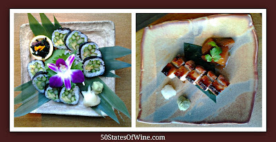 Roka Akor Asparagus Maki Roll and Roasted Pork Belly