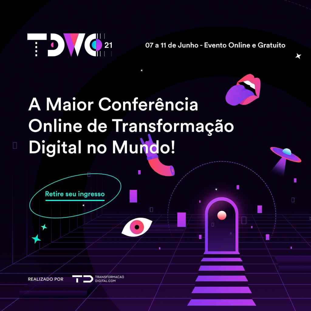 Save the Date: O TDWC21, maior conferência online de transformação digital do mundo, promovido pelo TransformaçãoDigital.com, ecossistema que conecta pessoas e empresas à transformação digital, já tem data marcada! Será online e gratuito de 7 a 11 de junho.