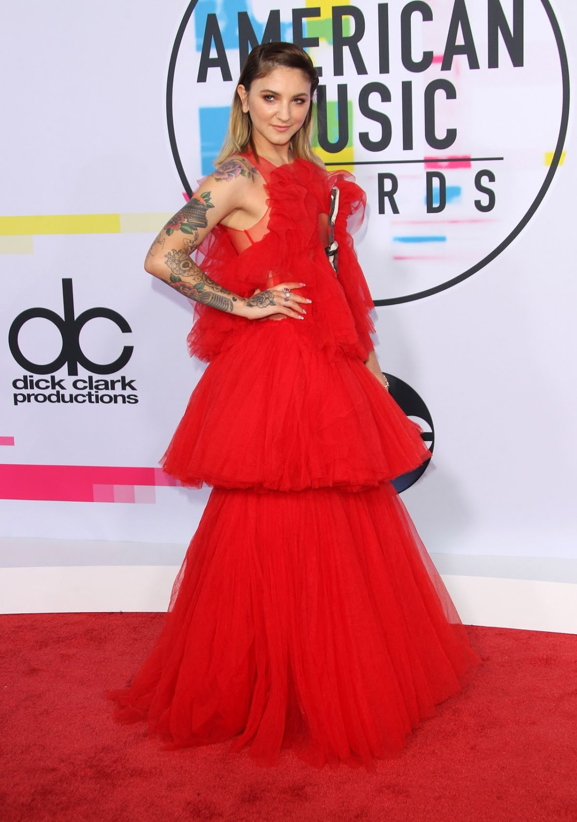 Photos of Julia Michaels in hot red dress at American Music Awards 2017 at Microsoft Theater in Los Angeles