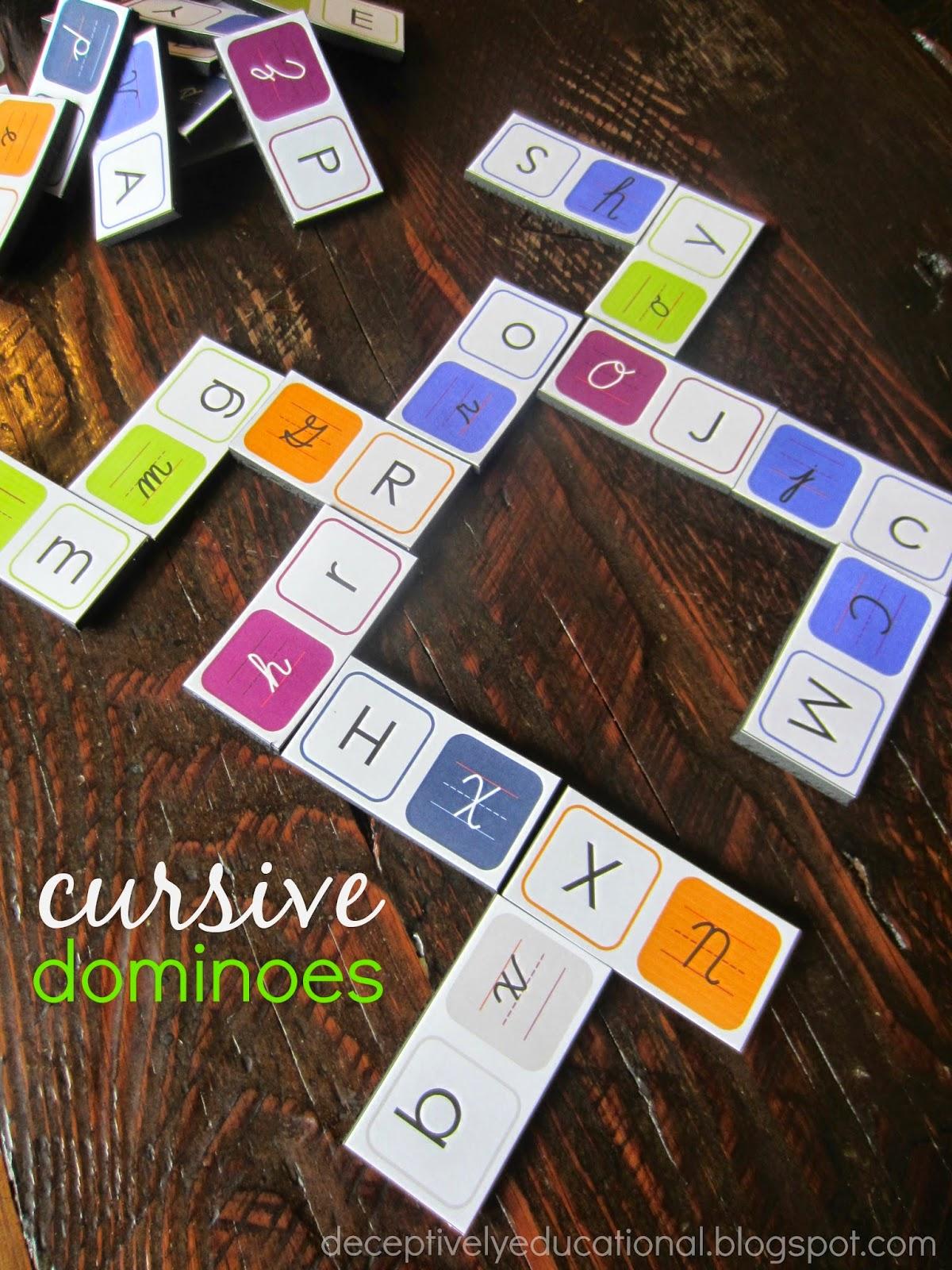 Relentlessly Fun Deceptively Educational Free Printable Cursive Dominoes