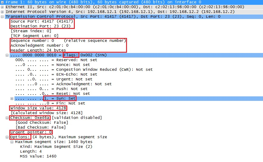 Wireshark التقاط حقول TCP