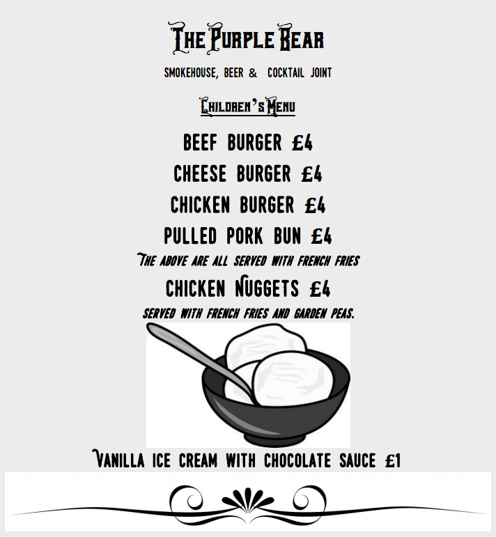 The Purple Bear Newcastle Childrens Menu